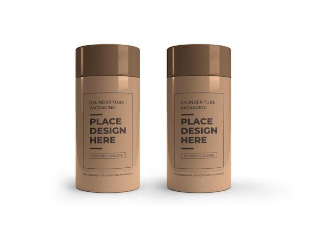 Mockup-design für zylinderrohrverpackungen