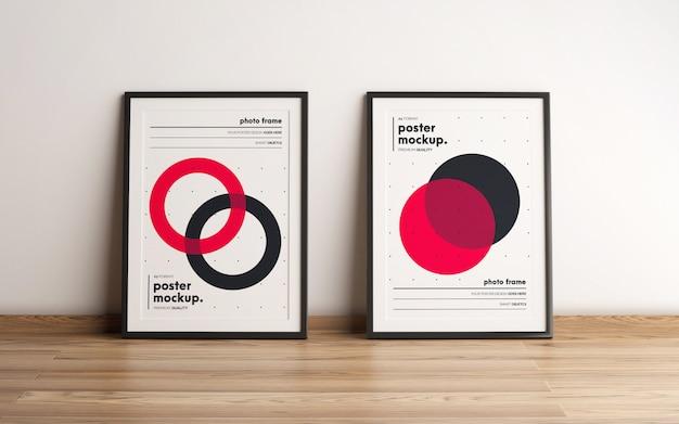 Mockup-design mit zwei gerahmten postern