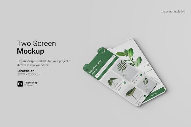 Mockup-design-rendering mit zwei bildschirmen