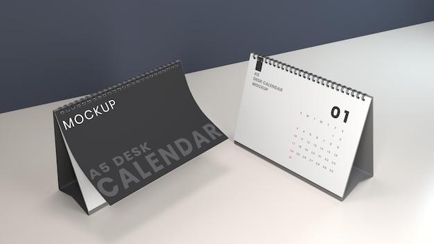 Mockup-design-vorlage für den querformat-schreibtischkalender