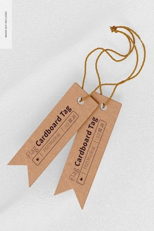Mockup für fahnenförmige kartonetiketten