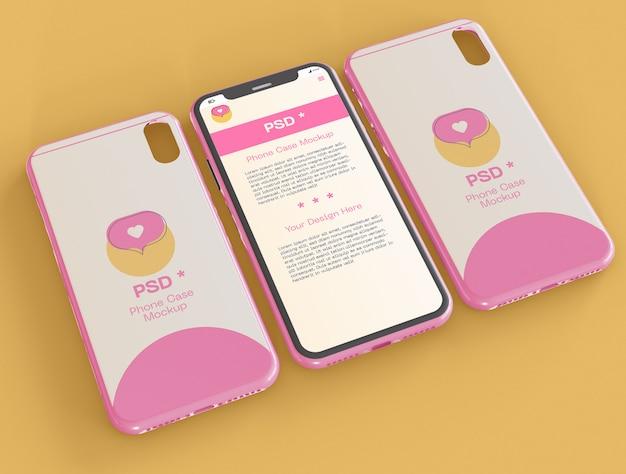 Mockup für hülle und smartphone-bildschirm