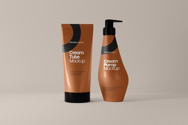 Mockup für kosmetikschlauch und pumpflasche von vorne
