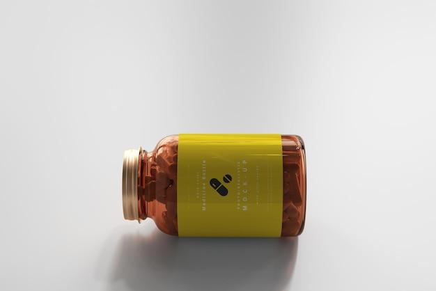 Mockup für medizinflaschen aus bernsteinfarbenem glas