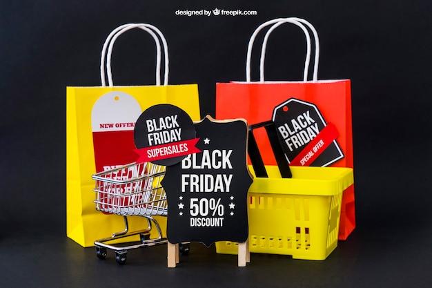 Mockup für schwarzen freitag mit taschen und korb Kostenlosen PSD