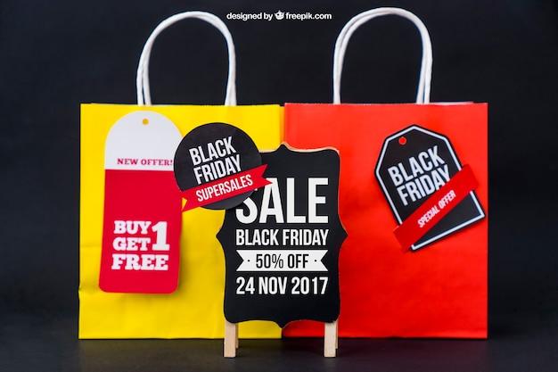 Mockup für schwarzen freitag mit taschen