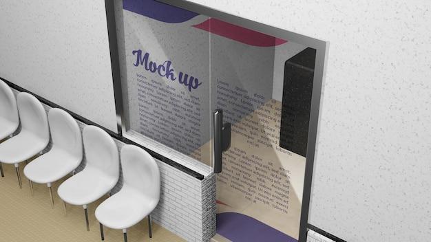 Mockup-glastür-logo oder rezeption