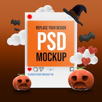 Mockup halloween instagram social media