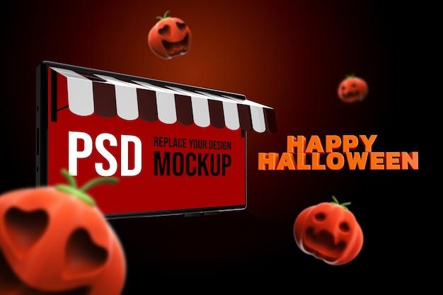Mockup halloween smartphone design 3d-rendering