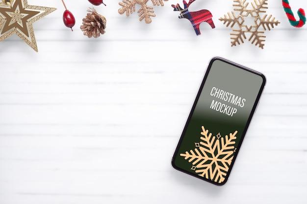 Mockup handy smartphone für weihnachten und neujahr hintergrund
