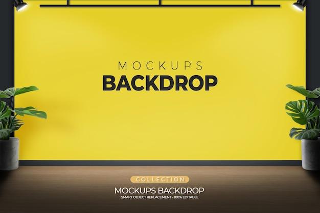 Mockup-hintergrundbüro-vorlagendesign mit spotlight