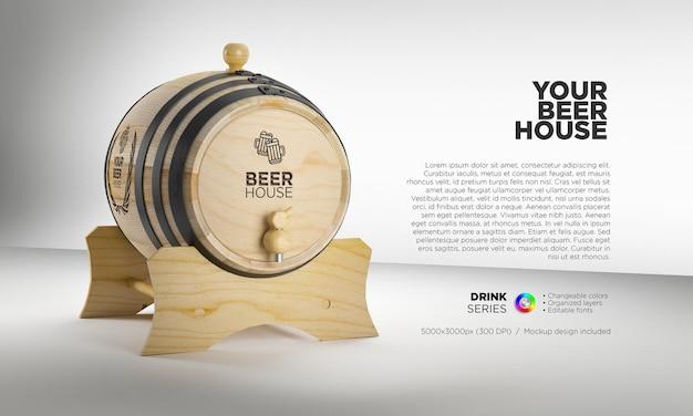 Mockup holzfass für alkoholische getränke