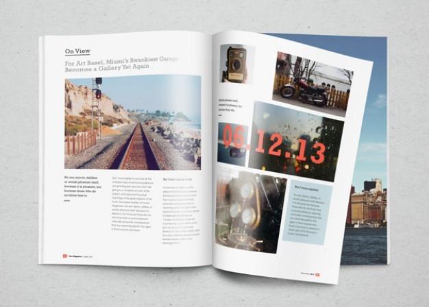 Mockup-magazin mit fotos