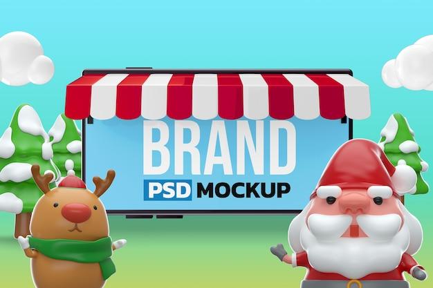 Mockup merry chistmas design 3d-rendering
