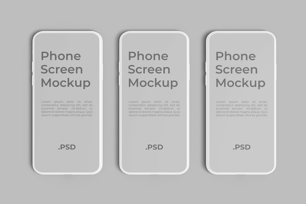 Mockup mit drei telefonbildschirmen