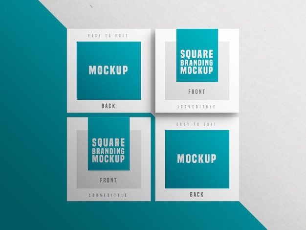 Mockup mit mehreren quadratischen visitenkarten