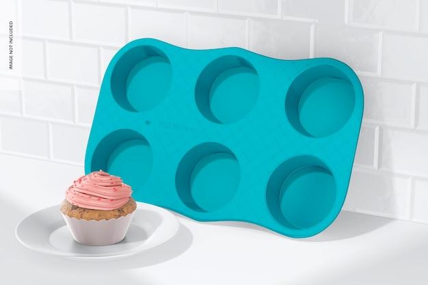 Mockup muffinform aus porzellan, angelehnt