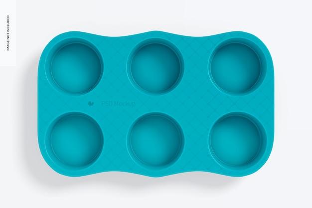 Mockup muffinform aus porzellan, ansicht von oben