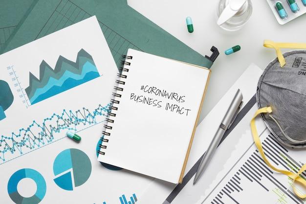 Mockup notebook für covid 19 business impact-konzept.