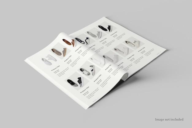Mockup-perspektivansicht für die verbreitung von magazinen