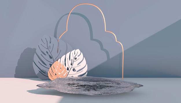 Mockup, podium, display mit monstera verlässt tropischen pflanzenhintergrund, 3d-rendering