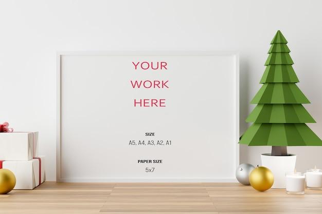 Mockup poster fotorahmen mit weihnachtsdekoration in 3d-rendering
