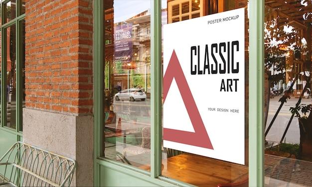 Mockup poster sonderaktion vor dem restaurant