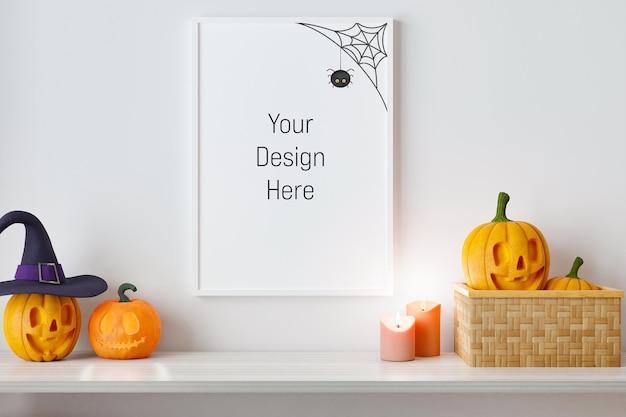 Mockup-poster und fotorahmen mit halloween-festival-dekoration