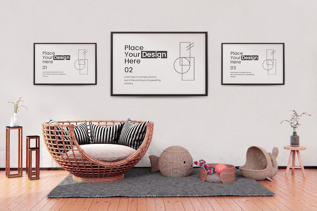 Mockup posterrahmen im wohnzimmer