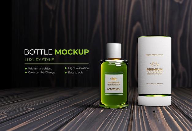 Mockup realistisches luxus-flaschenparfüm