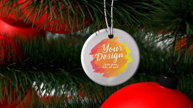 Mockup runde sublimationskreis keramik weihnachtsverzierung