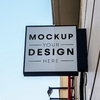 Mockup sign store city