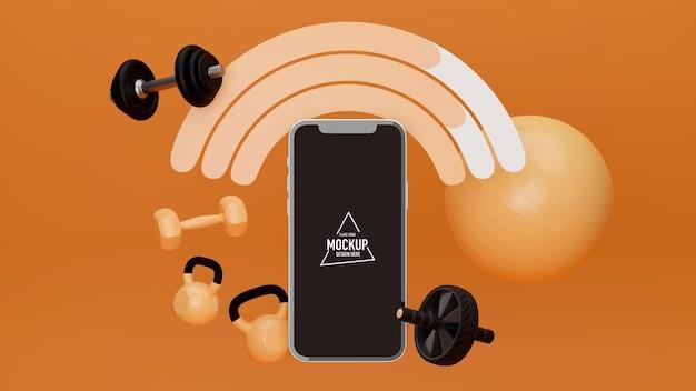 Mockup-smartphone-bild umgeben von sportgeräten auf orangefarbenem hintergrund-übungsprogramm