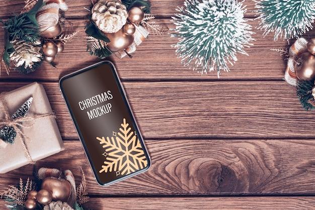 Mockup smartphone für weihnachten und neujahr
