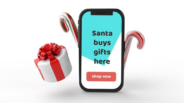 Mockup smartphone mit weihnachtsbonbon lutscher und geschenk