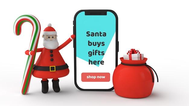 Mockup smartphone mit weihnachtsbonbon lutscher, weihnachtsmann und geschenk