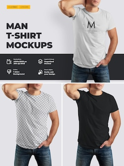 Mockup t-shirt auf dem körper eines athletischen mannes.
