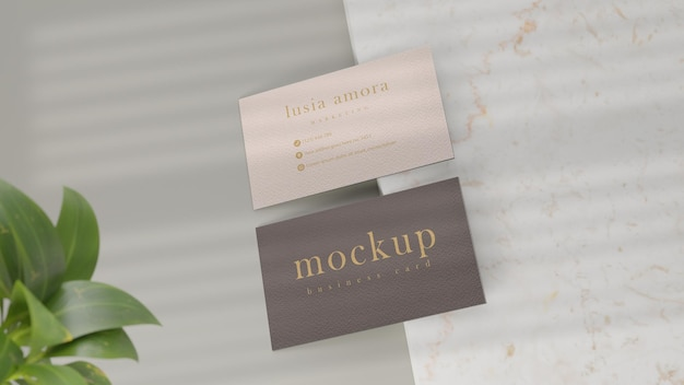 Mockup-visitenkartendesign auf marmor