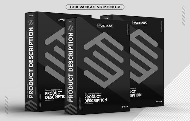 Mockup von drei verpackungskartons für kompositionen