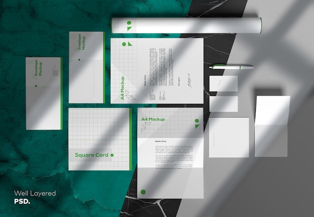 Mockup-vorlage für briefpapier-branding