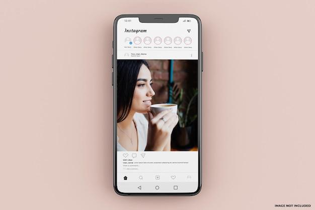 Mockup-vorlage für die mobile instagram-benutzeroberfläche