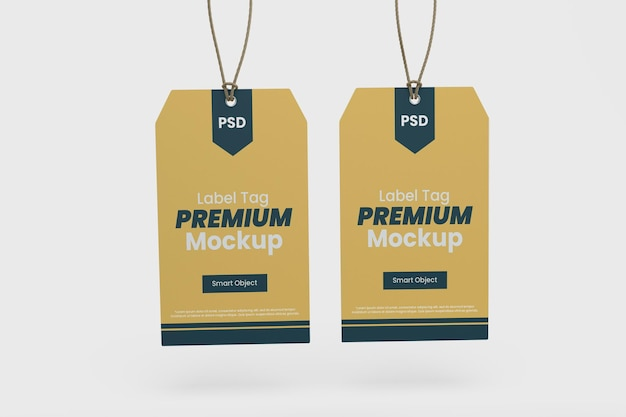 Mockup-vorlage für kleidungsetiketten-tag premium psd