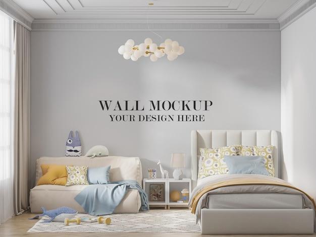 Mockup-wand hinter sofa und be