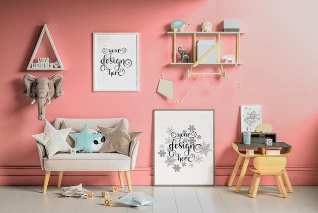 Mockup wandplakate im kinderzimmer in 3d-rendering