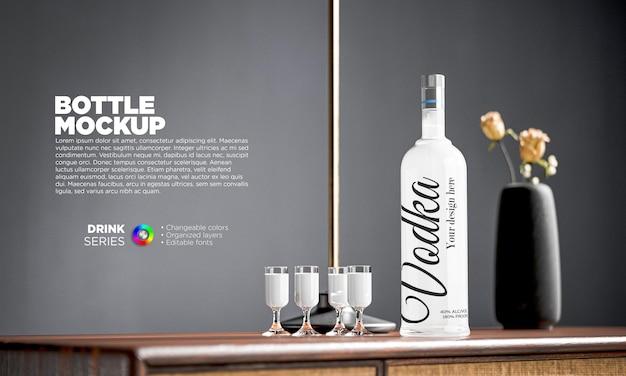 Mockup wodka flaschenetikett mit gläsern Premium PSD