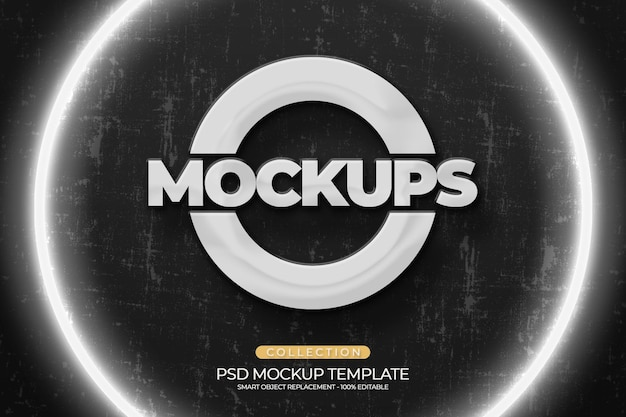 Mockups 3d-logo-prägung, pflanze, helles büro mit zementwandstruktur 2