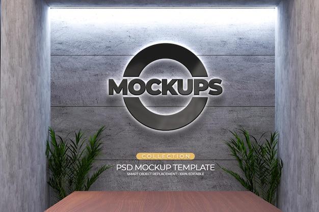 Mockups 3d-logo-prägung, pflanze, helles büro mit zementwandstruktur