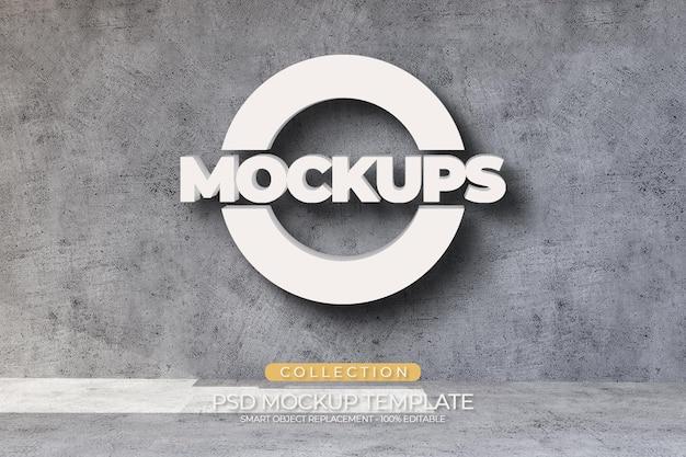 Mockups acryl-prägung im 3d-logo-stil mit zementwandstruktur und licht
