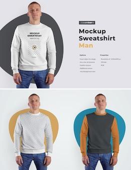 Mockups herren sweatshirt. das design ist einfach beim anpassen des bilddesigns (auf sweatshirt, ärmeln und etikett). färben sie alle elemente des sweatshirts