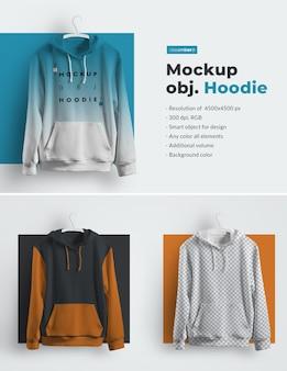 Mockups hoodie auf kleiderbügeln